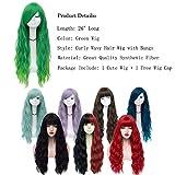 Mildiso Green Wigs for Women Long Curly Wavy Green