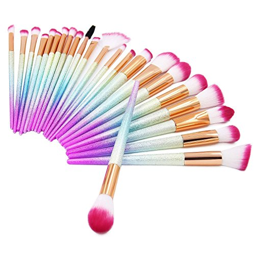 QERI Make Up Brushes 24 Pieces Professional Makeup Brush Set Foundation Powder Concealer Cosmetic Eyeshadow Brushes Kit with Rainbow Gradient Colors