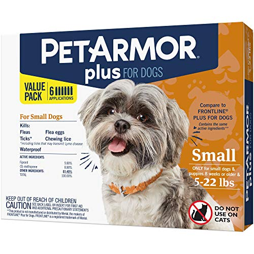 (PetArmor Plus for Dogs, Flea and Tick Prevention for Small Dogs (5-22 Pounds), Includes 6 Month Supply of Topical Flea Treatments)