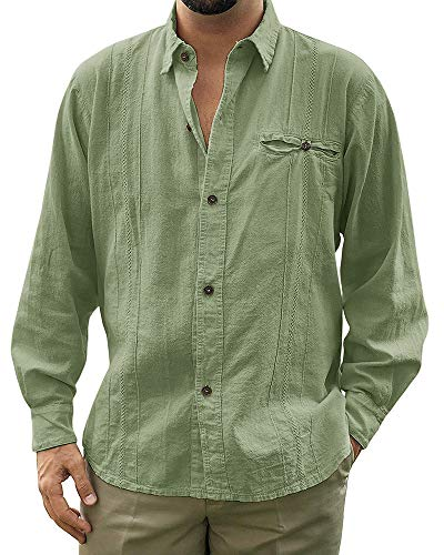 - Pengfei Mens Linen Cotton Shirts Cuban Casual Button Down Long Sleeve Loose Fit Fishing Shirt Green