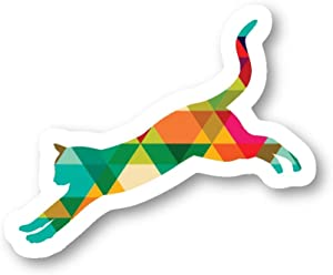 Cat Jumping Sticker Polygon Stickers - 3 Pack - Set of 2.5, 3 and 4 Inch Laptop Stickers - for Laptop, Phone, Water Bottle (3 Pack) S214591
