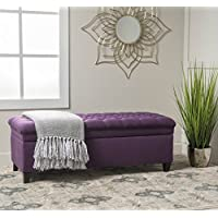 Modern Solid Tufted Fabric Storage Ottoman Seat Bench Coffee Table Entryway (Purple)