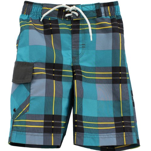 """Boys Board Shorts 1206017B (Teal-""""Plaid"""", 6)"""