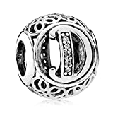 Everbling Vintage Letter D Clear CZ 925 Sterling Silver Bead Fits Pandora Charm Bracelet