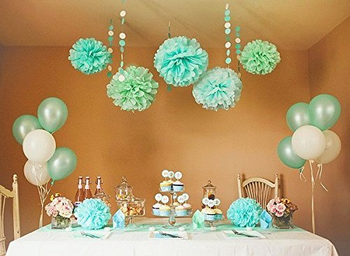 Sorive 12PCS Mixed Sizes Mint & Light Blue Party Tissue Pom Poms Paper Flower Pompoms Wedding Birthday Party Anniversary Reception Decoration Favour by Sorive