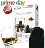 Whiskey Stones - Scotch Rocks - Best Christmas Gift Set of 9 Whisky Chilling Cubes - Lifetime Guarantee