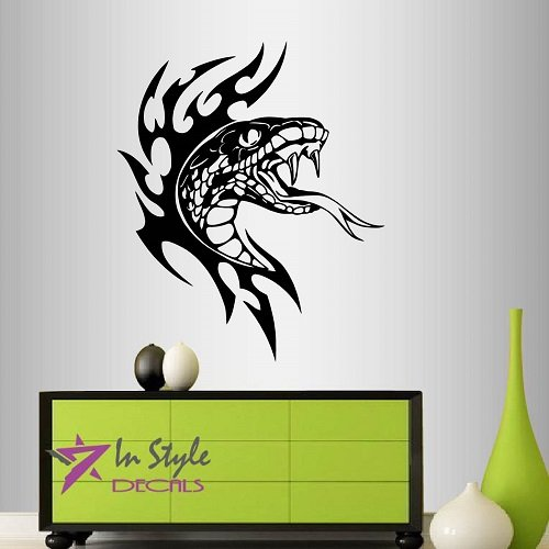 - Wall Vinyl Decal Home Decor Art Sticker Flaming Snake Viper Tribal Predator Room Removable Stylish Mural Unique Design