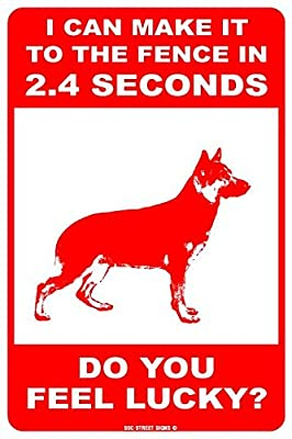 I can Make It To The Fence In 2.4 Seconds Do You Feel Lucky Aluminum Tin Metal Poster Sign Wall Decor 12x18