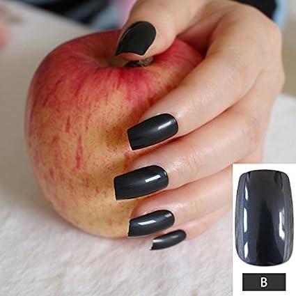 Juego de 24 uñas postizas de color negro puro para decoración de uñas postizas con diseño