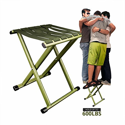 TRIPLE TREE Super Strong Portable Folding Stool, Heavy Duty Outdoor Folding Chair Hold Up To 600 LBS