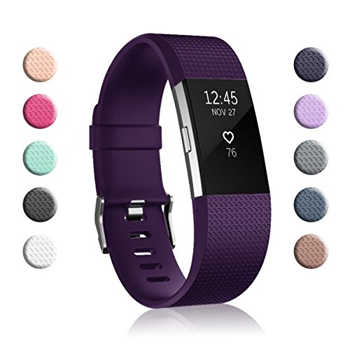 (Fundro Replacement Bands Compatible with Fitbit Charge 2, Classic & Special Edition Adjustable Sport Wristbands (1-Pack Purple, Large (6.7