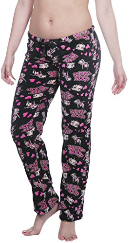 Licensed Women's Warm and Cozy Plush Pajama/Lounge Pants (Small, Black with Hearts)
