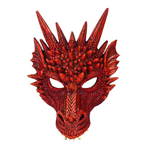 Outgeek Cosplay Mask 3D Dragon Party Mask Scary Half Face Mask For Halloween Adult Teen