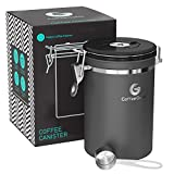 Coffee Gator Stainless Steel Container - Canister with co2 Valve and Scoop (Grey, Large)