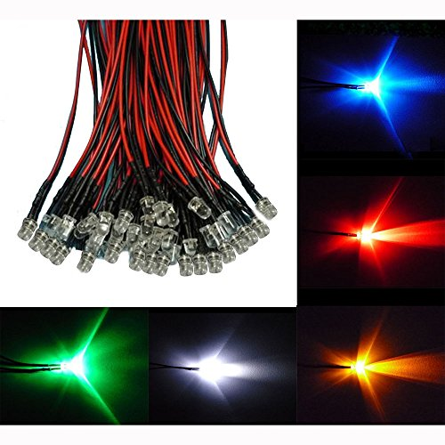 Honbay 50pcs Connected Colour 5mm LEDs Pre Wired Light 12V 20cm Bulb
