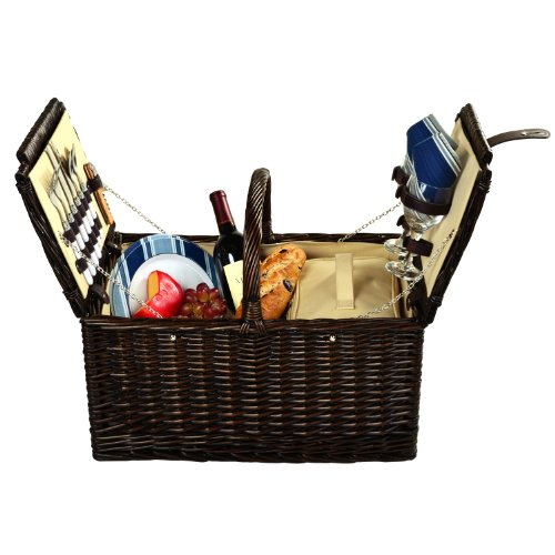 Picnic at Ascot Surrey Willow Picnic Basket with Service for 2 - Blue ()