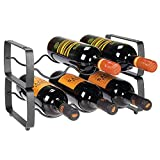 mDesign Metal Steel Free-Standing 6 Bottle Modular Wine Rack Storage Organizer for Kitchen Countertop, Table Top, Pantry, Fridge - Holder for Wine, Beer, Pop/Soda, Water, Stackable - Graphite Gray