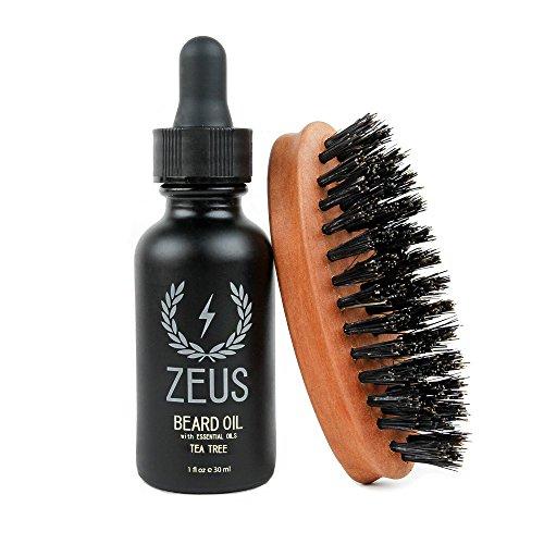 Zeus Beard Oil Natural Conditioner Softener Kit With 100% Boar Bristle Brush, Tea Tree