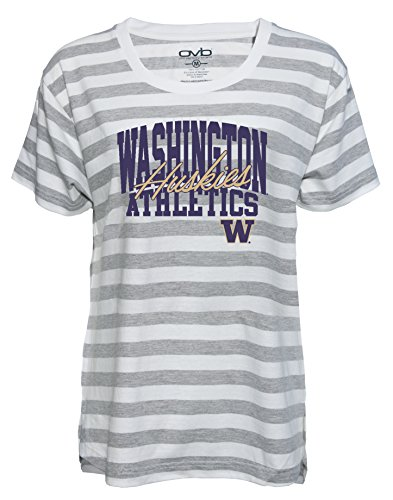 NCAA Washington Huskies Women's Striped Game Day T-shirt, Medium, Grey/White - Washington Huskies Ncaa Tee