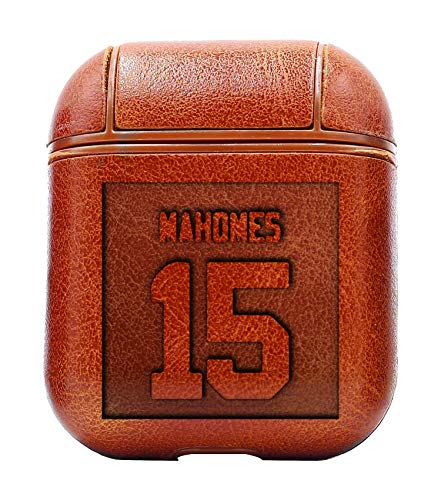 Patrick MAHOMES Jersey CASE Sticker (Vintage Brown) Air Pods Protective Leather Case Cover - a New Class of Luxury to Your AirPods - Premium PU Leather and Handmade exquisitely by Master Craftsmen