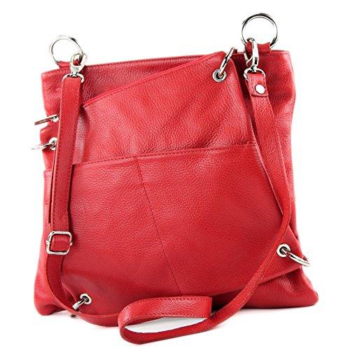 modamoda de - ital. Ledertasche Damentasche Messengertasche Umhängetasche 2in1 Leder T140 Rot