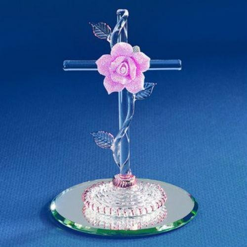 - Cross with Pink Rose Glass Figurine