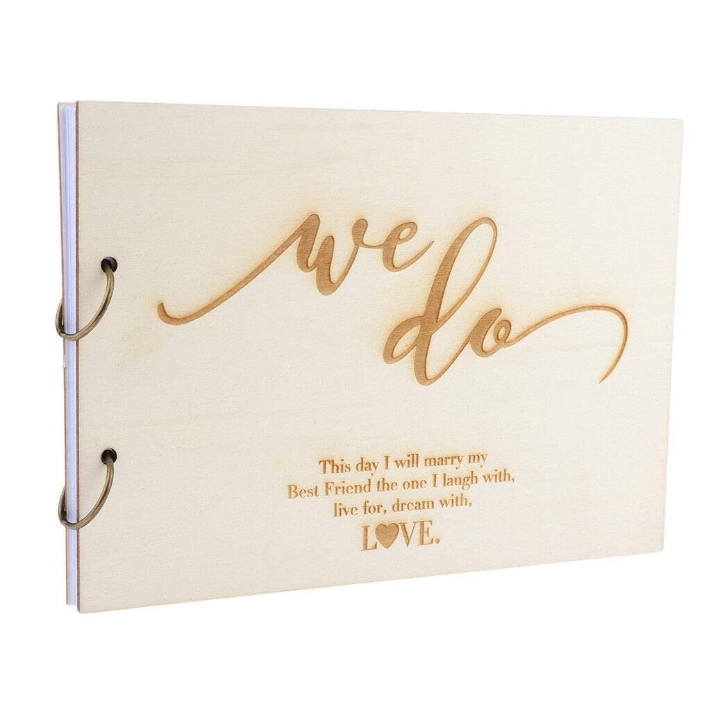 Amazon.com: We Do Vintage Wedding Wooden Guest Book Wishes Book Bridal  Shower 30 X 21cm: Beauty