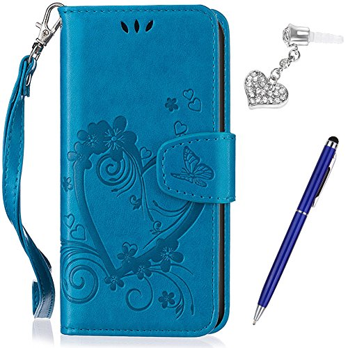 Galaxy S7 Edge Case Galaxy S7 Edge Cover Ikasus Embossing Love Butterfly Flower Flip Folio Wallet Case Pu Leather Scratch Resistant Stand Card Slots Case  Touch Pen Dust Plug For Galaxy S7 Edge Blue