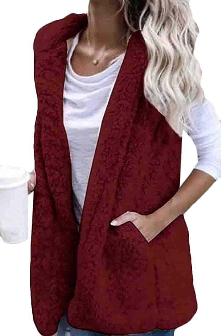 GRMO Women with Pockets Fuzzy Outerwear Sherpa Hooded Open Front Vest