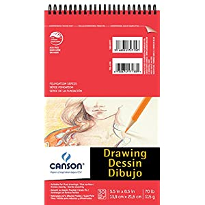 Canson Foundation Drawing Paper Pad with Micro-Perforated Sheets and Fine Texture, Top Wire Bound, 70 Pound, 5.5 x 8.5 Inch, 30 Sheets