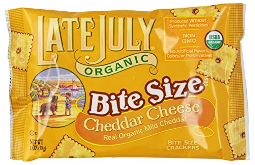 Late July Organic Bite Size Cheddar Cheese Crackers, 8-Count Boxes, 8 oz,  (Pack of 4) July Sampler
