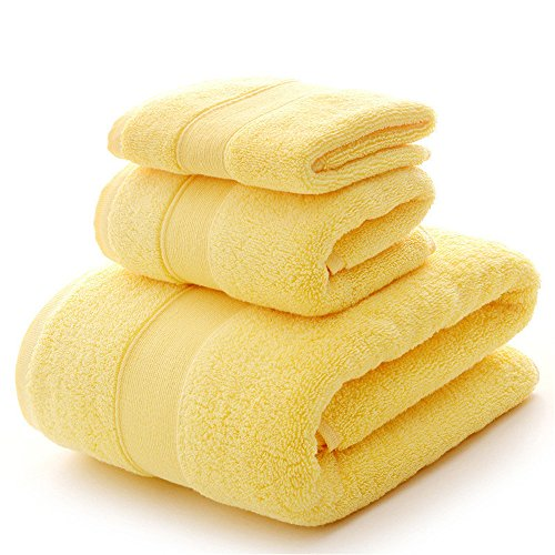 Bath Towel Sets Clearance 900 GSM Premium 3 Piece Bathroom Sheets Yellow, Luxury Hotel Spa 100% Cotton, 1 Bath Towels, 1 Hand Towels and 1 Washcloths