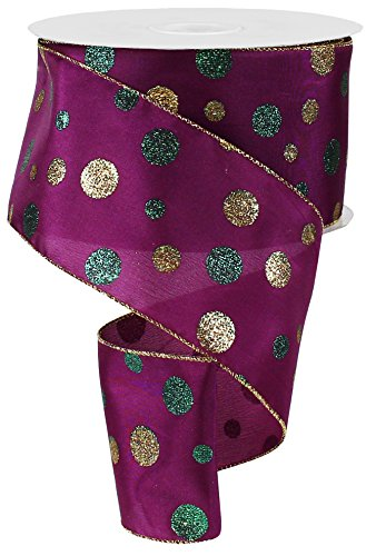 Mardi Gras Polka Dot Glitter Diamond Ribbon: Purple, Green & Gold (4 Inch X 50 Yards) : -