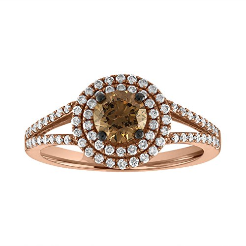 Sweet Treasures VSSR987 14K Rose Gold Natural 1.00cttw Round Cut White (SI1 -SI2) & Champagne Diamond (SI1 -SI2) Ring Size 7 (7, - Ring 14k Natural Diamond Champagne
