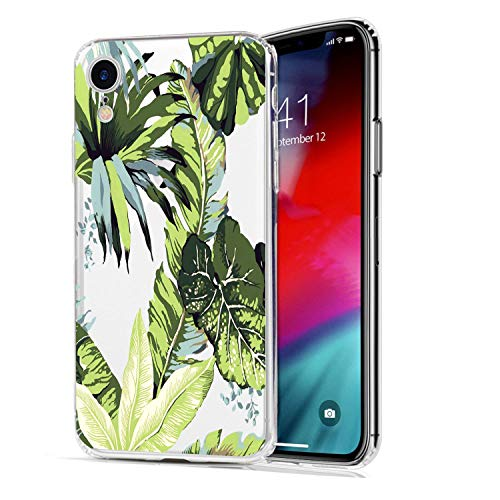 HUIYCUU Case Compatible with iPhone XR Case, Palm Tree Design Print Shockproof Soft Protective Back Cover Cute Floral Pattern Clear Novelty Bumper Case for iPhone Xr 9, Tropical Leaves