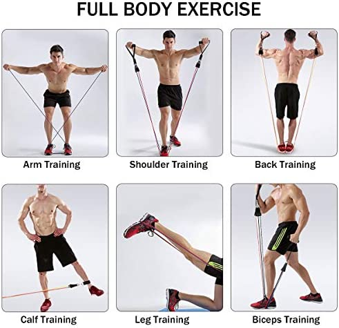 Grentay 11 Pack Resistance Bands Set, Exercise Resistance Bands for Men and Women with Handles Door Anchor Ankle Straps,Resistance Loop Band and Workout Guide for Home Workouts, Including 5 Stackable 5