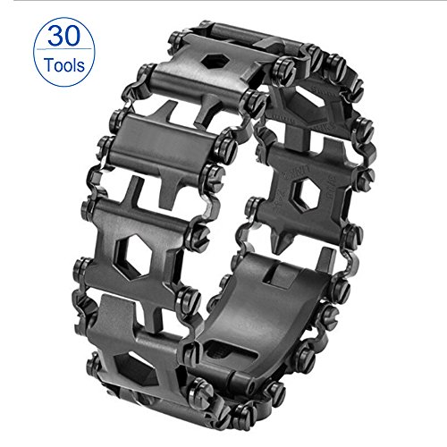 Multi Tool Tread Bracelet, Stainless Steel 30 IN 1 Bracelet Screwdriver Tool With Gift Box for Sailing/Travel/Camping Hiking Outdoor Emergency Kit (black)