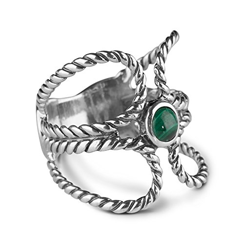 American West Sterling Silver Natural Malachite Ring,  size 6