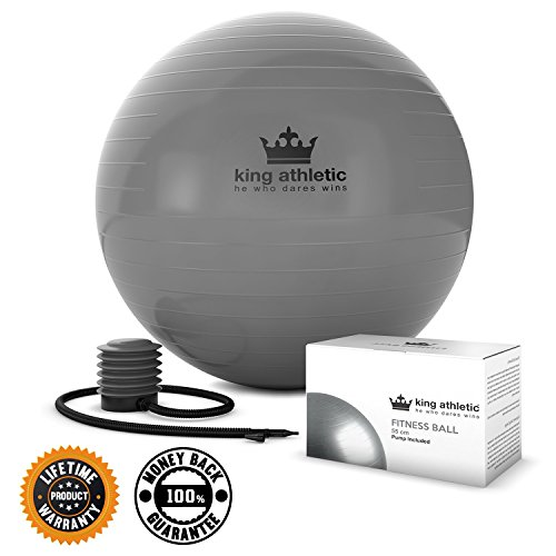 Yoga Ball :: Stability Balance Swiss Exercise Balls Made With Anti Burst Rubber :: Fitness Ball Chair Comes in 65 cm & 55cm Size :: Includes Bonus E Book