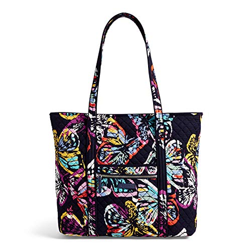 Vera Bradley Iconic Vera Tote, Signature Cotton, Butterfly Flutter, - Butterfly Zip Handbag Top