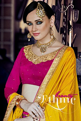 Mrsindia Womens Pink Striking Lehenga Choli With Embroidery Lace Work 80384 80384