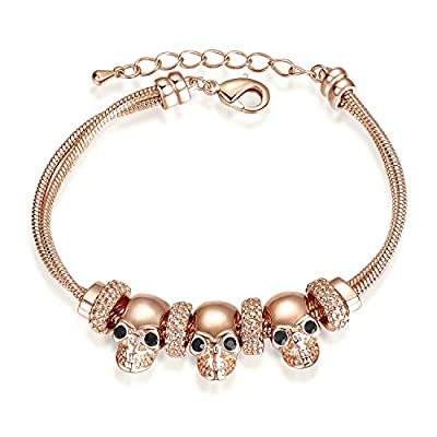 Wholesale Yoursfs Skull Bracelet 18K Rose Gold Plated Women Charming Chain Bracelet Fashion Jewelry