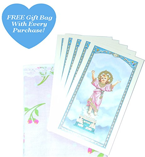 Holy Card (5-PACK) Divino Nino Divine Child Jesus, 'Prayer To Beckoning Child Jesus' On Back, Patron Of The Poor And Unjustly Imprisoned, With Free Gift Bag