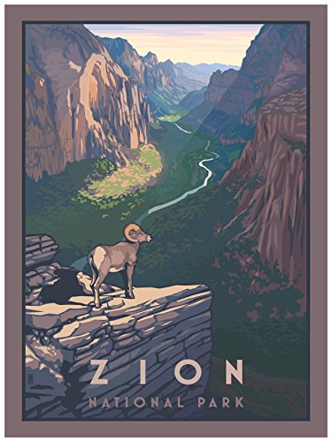 Zion Canyon Bighorn Sheep Zion National Park Travel Art Print Poster by Paul Leighton (18