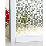 DuoFire 3D Window Film Big Mosaic Privacy Window Film Decorative Film Static Cling Glass Film No Glue Anti-UV Window Sticker Non Adhesive For Home Kitchen Office 23.6in. x 78.7in. DL014