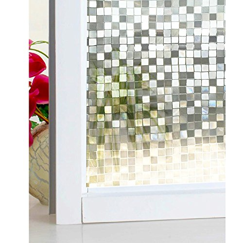 DuoFire 3D Window Film Big Mosaic Privacy Window Film Decorative Film Static Cling Glass Film No Glue Anti-UV Window Sticker Non Adhesive For Home Kitchen Office 23.6in. x 78.7in. DL014 by DuoFire