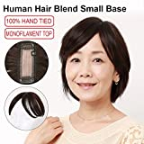 Igennki Hand Tied Mono Top Hair Pieces Human Hair Topper Clip In Hair Wiglets For Women Thinning Hair,Hair Loss (Base 1.6''4.3'', Natural Black)