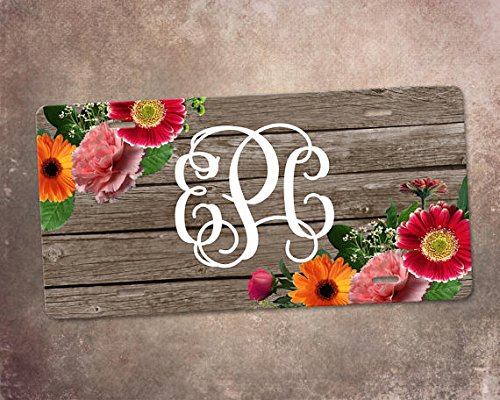 Mentalsign Floral monogram car tag, monogram car tag, car accessory, vanity car tag, auto decor, new car gift,floral license plate,custom license plate