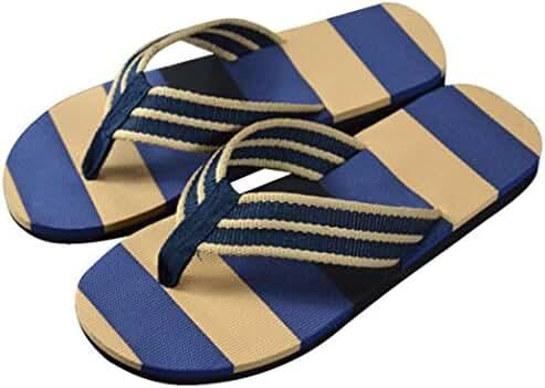 Euone Men Summer Stripe Flip Flops Shoes Sandals Male Slipper Flip-flops