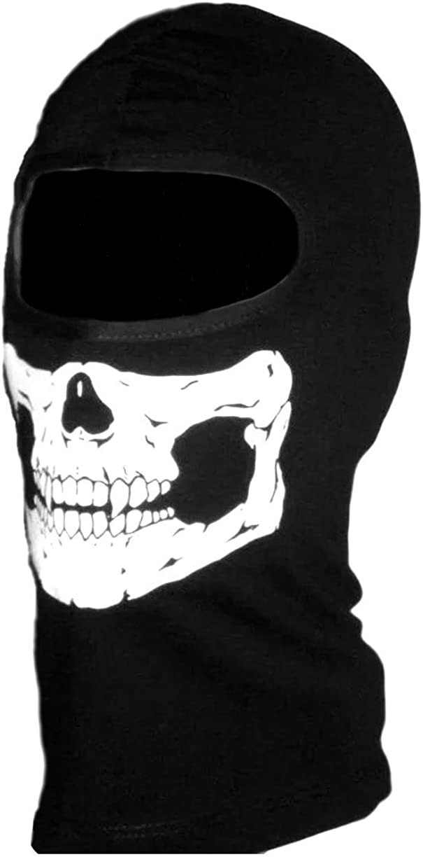 Childs American Made Glow in the Dark Neon Skull Ski Face Mask Black Cotton Hood Ghost Balaclava Head Sock Snowmobile, Snowboard Helmet Liner, Will Not Fit Head Circumference Larger than 19.5 inches